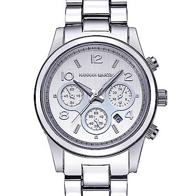 HANNAH MARTIN 絢麗盛世裝飾三眼腕錶-銀x38mm(HM-1038-Y)