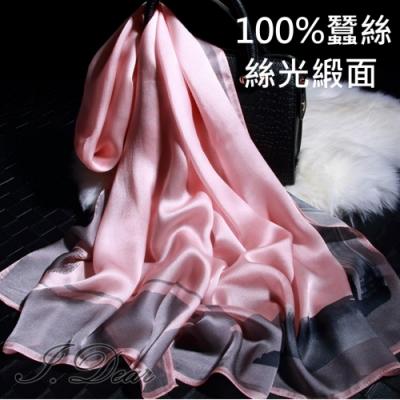 I.Dear-100%蠶絲歐美圖騰印花緞面長絲巾披肩(奧黛麗粉)