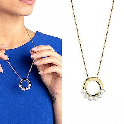 CALVIN KLEIN Circling 系列優雅珠飾香檳金項鍊