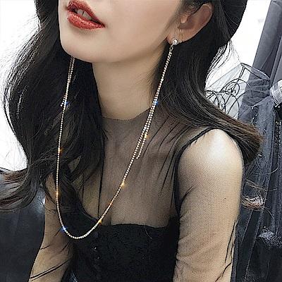 梨花HaNA 最新設計韓國閃鑽珍珠耳環一體式項鍊顯臉瘦