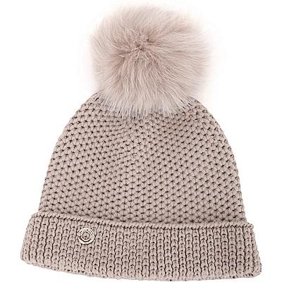Loro Piana  100 %喀什米爾可可灰棕狐狸毛球粗針織毛線帽