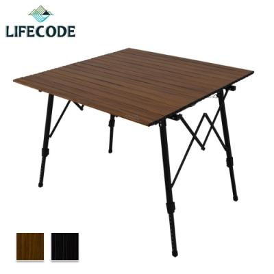LIFECODE 娛樂王方型鋁合蛋捲桌/折疊桌(90x90cm)-2色可選(送桌布)