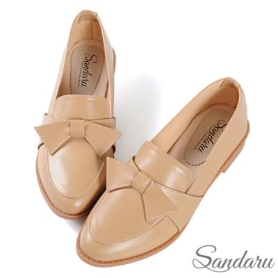 山打努SANDARU-小皮鞋 日系可愛蝶結尖頭低跟鞋-卡其