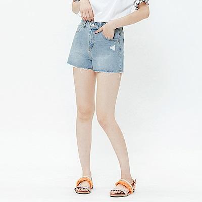 H:CONNECT 韓國品牌 女裝-微磨破不收邊牛仔短褲-藍
