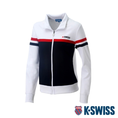 K-SWISS Mock Neck Jacket運動外套-女-白/黑