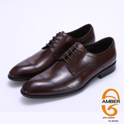 Amber 特殊縫線柔軟真皮紳士鞋-咖啡色