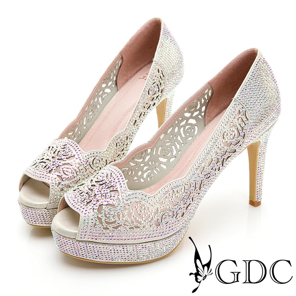GDC-華麗時尚簍空雕花水鑽波浪魚口高跟鞋-金色