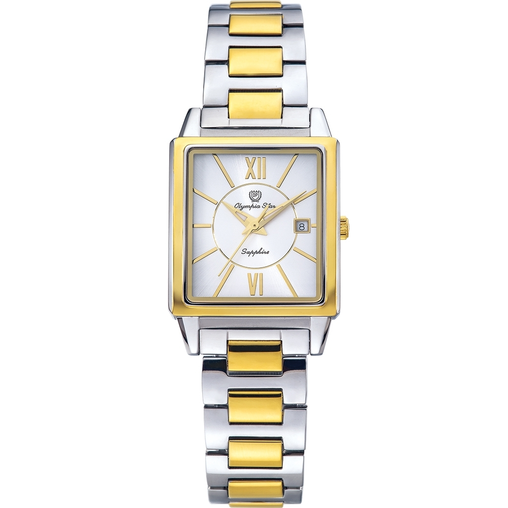 Olympia Star 奧林比亞之星 經典時尚羅馬方型女錶-雙色*白 58065LSK