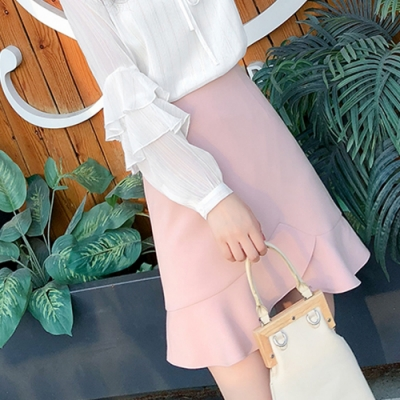 2F韓衣-韓系不規則造型短裙-新-粉(S-2XL)