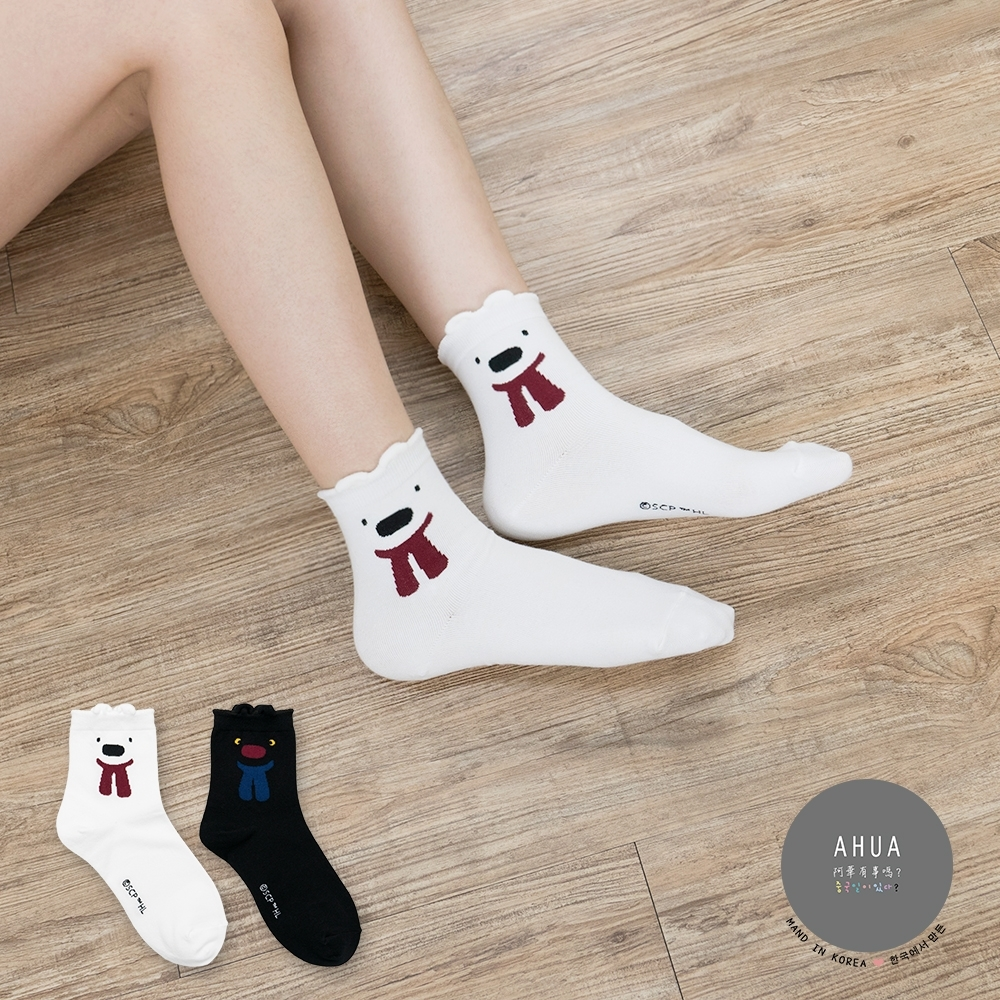 阿華有事嗎 韓國襪子 卡斯柏&麗莎全版中筒襪 韓妞必備長襪 正韓百搭卡通襪