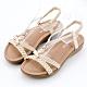River&Moon大尺碼女鞋 典雅編織蝴蝶鑽扣一字楔型涼鞋 米 product thumbnail 1