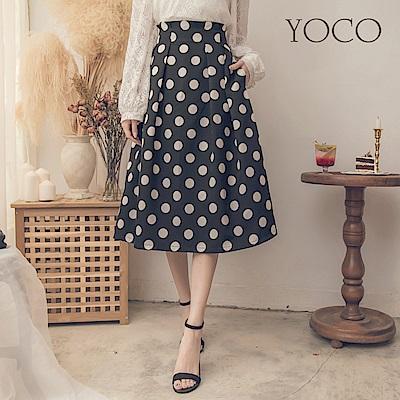 東京著衣-yoco 復古女伶甜美大圓點打褶裙子-S.M.L(共一色)
