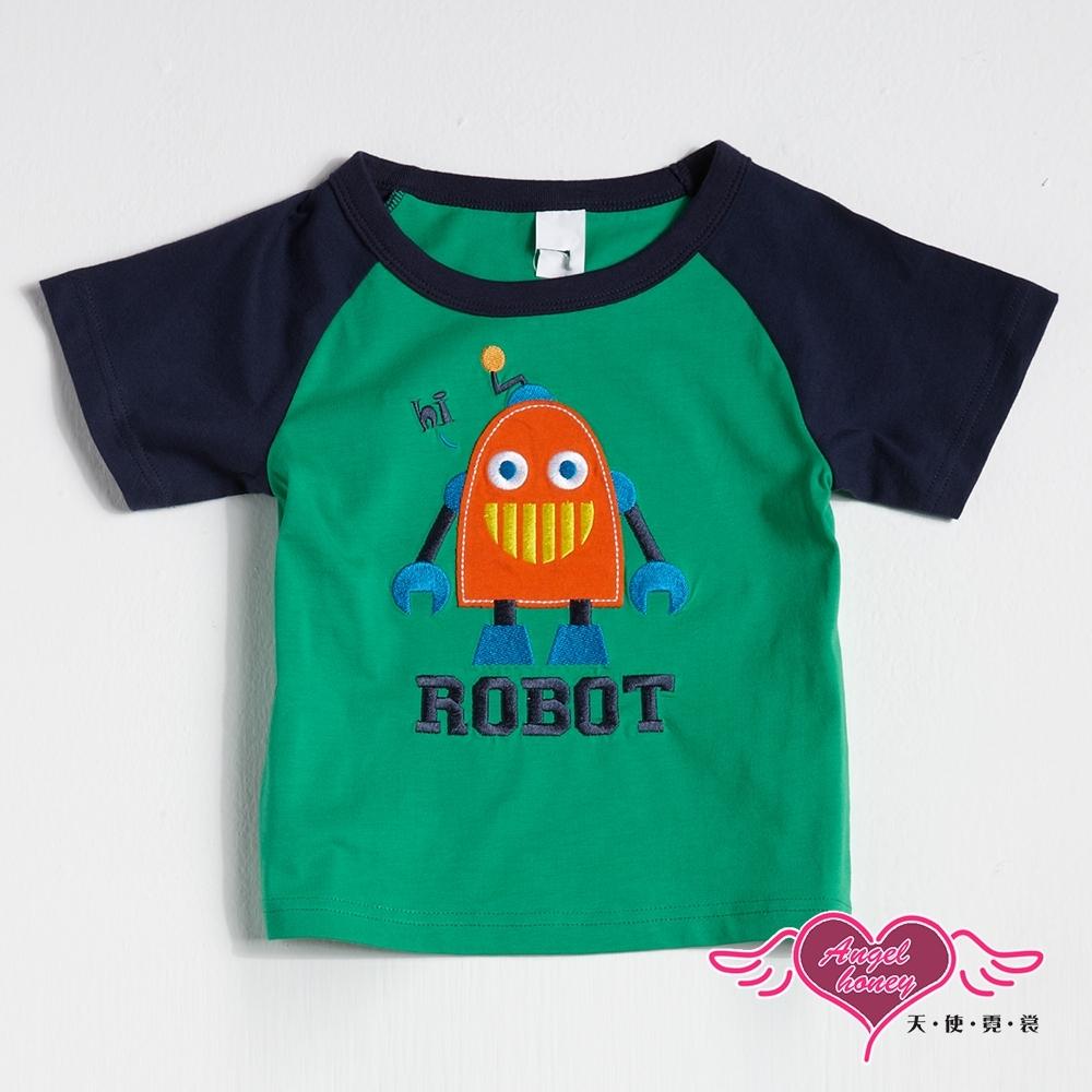 【天使霓裳-童裝】笑臉機器人 拼布短袖T恤上衣 (綠)