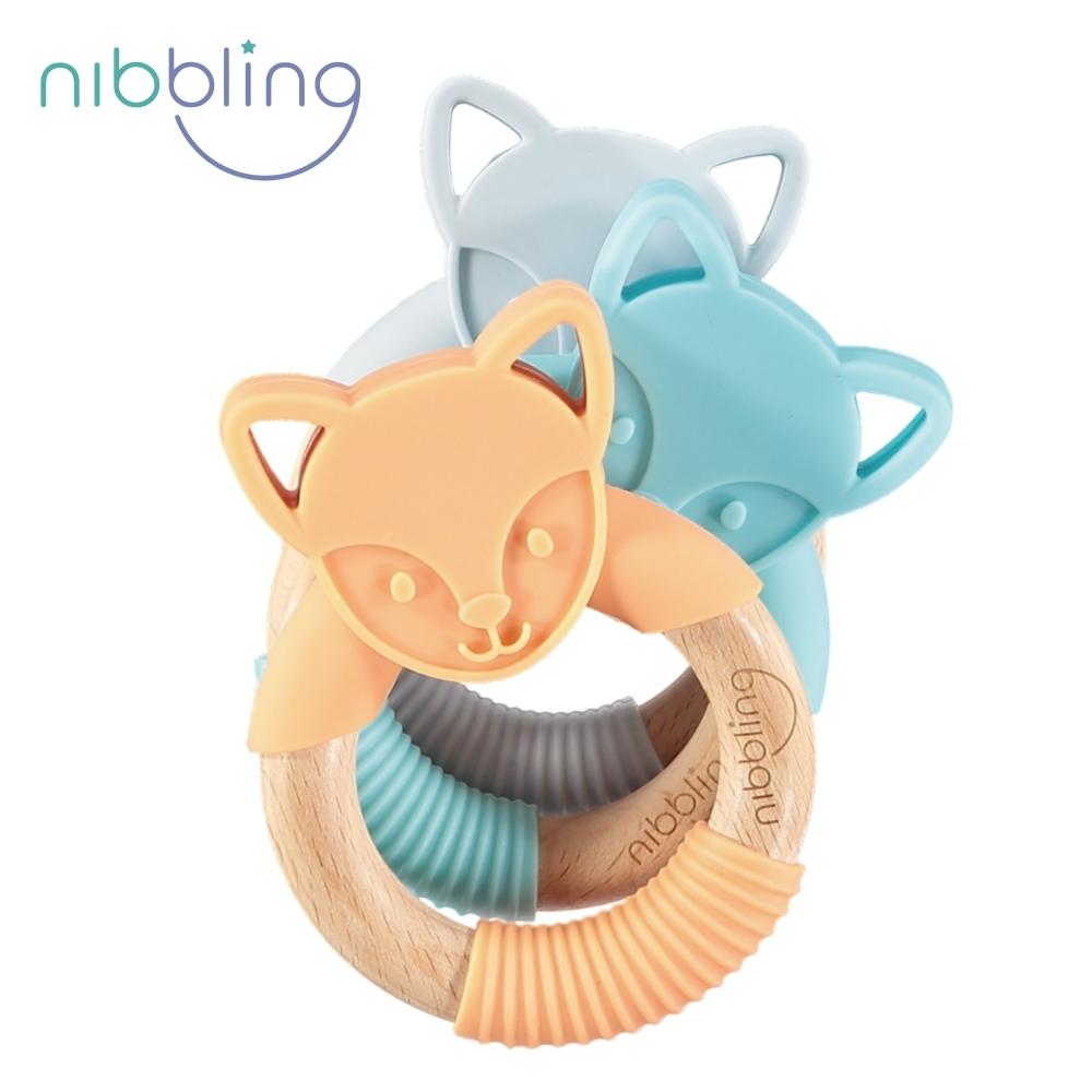 【Nibbling】矽膠可咬動物造型櫸木手握環森林好朋友固齒器-狐狸