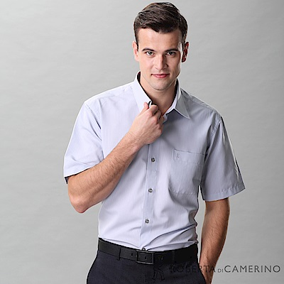 ROBERTA諾貝達 台灣製 吸濕速乾防汙 條紋短袖襯衫 灰色
