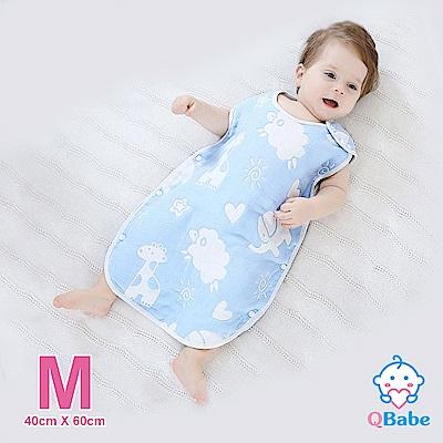 QBabe 全棉六層紗 寶寶兒童四季防踢被-藍色動物-M