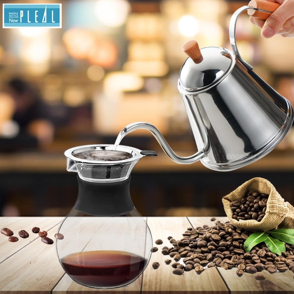 NEW PLEAL 日本進口不鏽鋼手沖咖啡壺(木柄)附雙層304不鏽鋼濾網咖啡過濾壺超值組