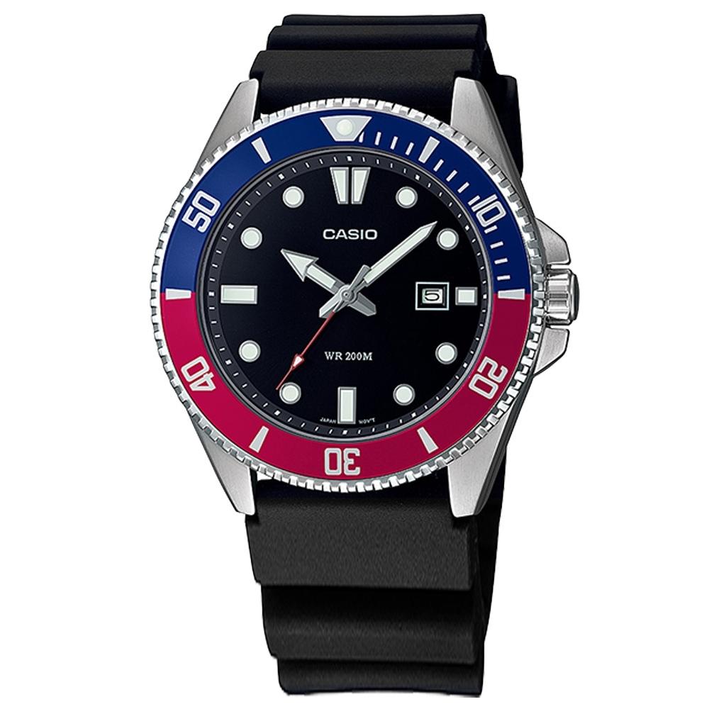 CASIO 卡西歐 潛水錶 劍魚 槍魚系列 水鬼 日期 橡膠手錶-紅藍色/44mm