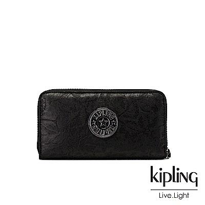 Kipling 飄渺黑立體壓紋多卡層長夾-ALIA