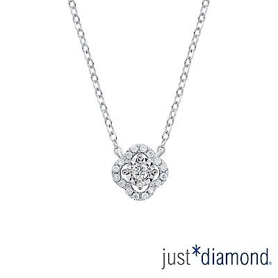 鎮金店 Just Diamond 鑽石18k白金 鑽鍊-愛相繫(花漾)
