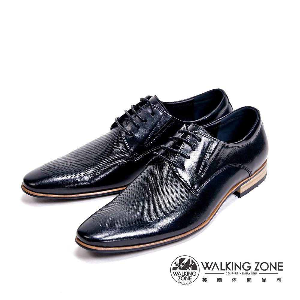 WALKING ZONE 嚴選防刮紋木頭跟質感男皮鞋-黑
