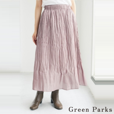 Green Parks 光澤感皺褶百褶裙