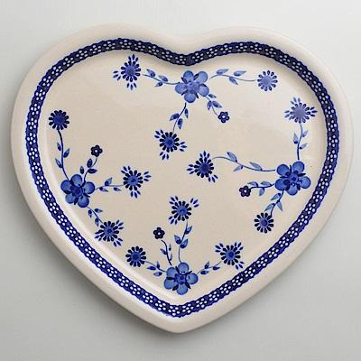【波蘭陶 Zaklady】 歐式青花系列 愛心造型餐盤 波蘭手工製