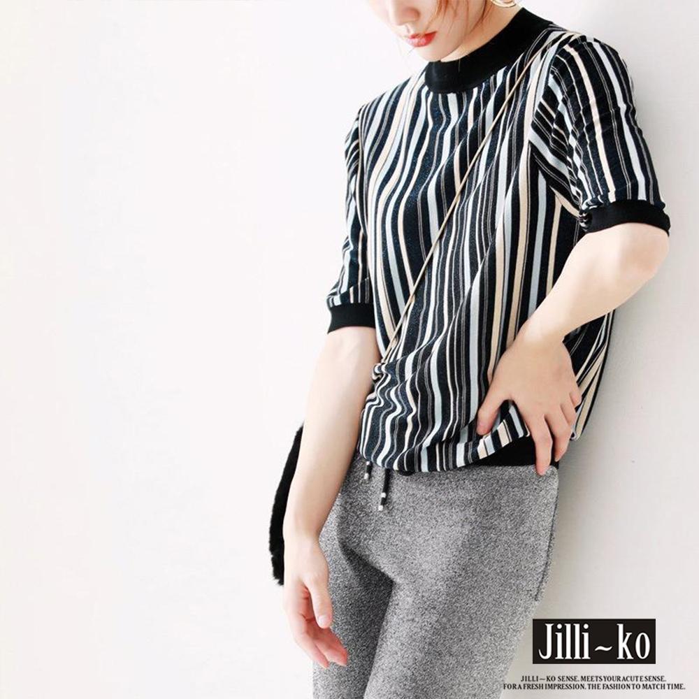 JILLI-KO 精緻配色直條針織衫- 杏/黑 (黑色系)