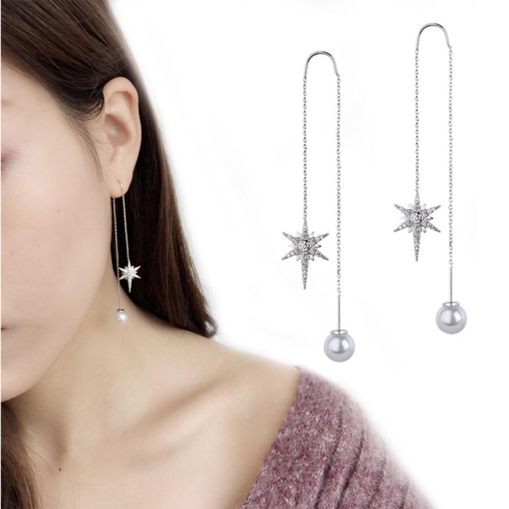 iSFairytale伊飾童話 閃耀北極星 珍珠水鑽銅電鍍流蘇耳環