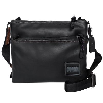 COACH黑色全皮前拉鍊袋中款方型斜背男包