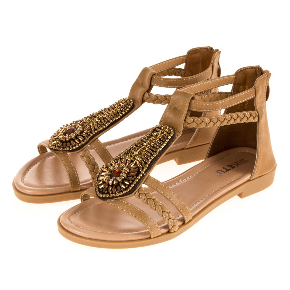 JMS-造型串珠鑽飾T字帶環裸平底涼鞋-棕色