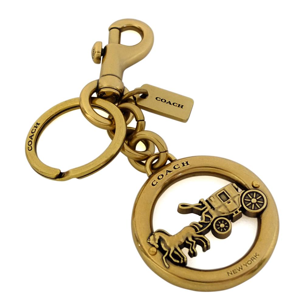 COACH復古圓形鏤刻馬車圓型掛勾雙扣環鑰匙圈COACH