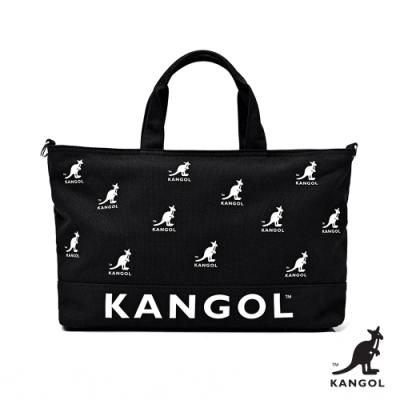 【KANGOL】英式經典-LOGO大容量托特包-黑