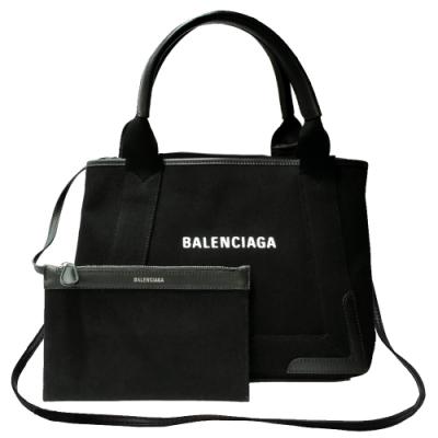 BALENCIAGA NAVY系列帆布X牛皮飾邊手提/肩背托特包(黑色-XS號)