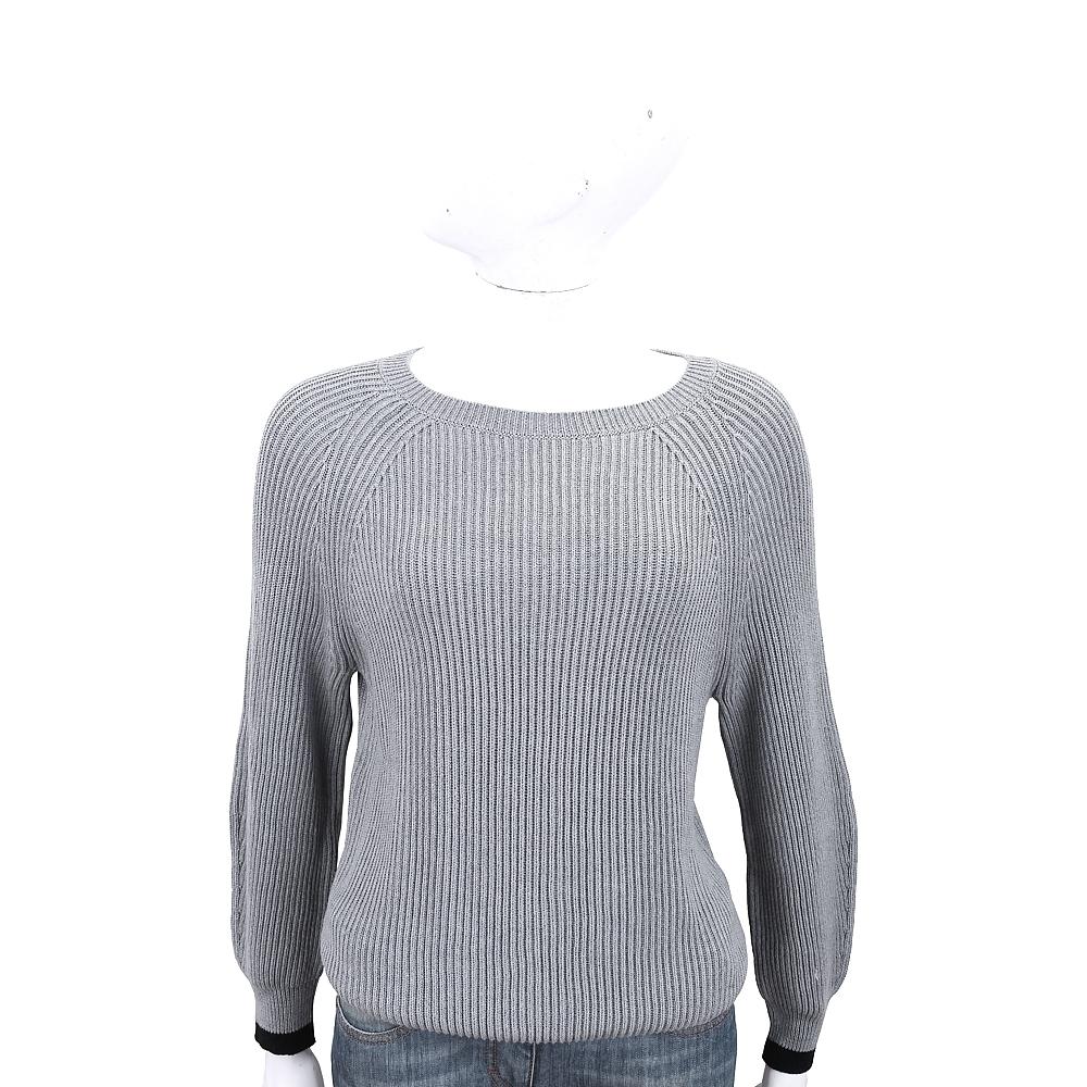 Max Mara-WEEKEND 袖口撞色設計灰色粗針織毛衣