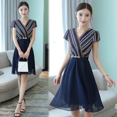 【韓國K.W.】(現貨) 時尚穿搭顯瘦名媛洋裝