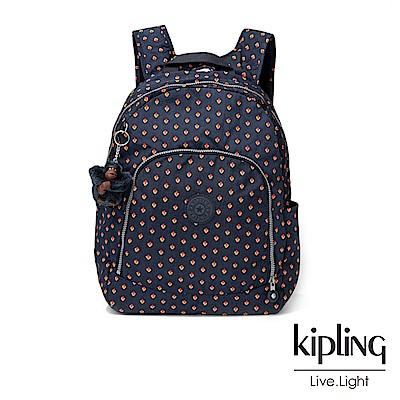 Kipling紅黃幾何印花前拉鍊後背包-CARMINE
