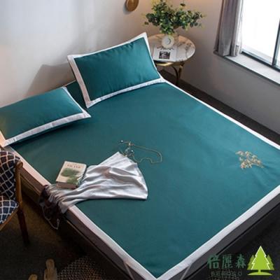 Beroso 倍麗森 風襲日本時尚雙人床6D冰絲涼蓆透氣吸濕床包3件組-墨綠-雙人5x6尺