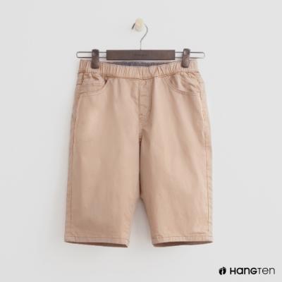 Hang Ten- 青少童裝-素色棉質休閒短褲-卡其