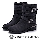 VINCE CAMUTO 金屬扣雙繫帶低跟中筒靴-絨灰