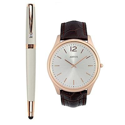 ARTEX 雅致觸控鋼珠筆玫瑰金白+5605真皮手錶-褐/玫瑰金43mm