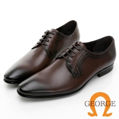 GEORGE喬治皮鞋 核心氣墊 素面真皮領口壓紋綁帶紳士鞋 -咖啡 115005BW
