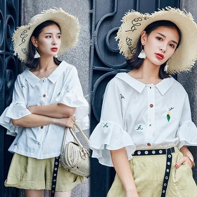 【韓國K.W.】(現貨)韓國夏日清爽小花襯衫(共1色)