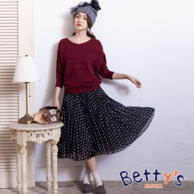 betty's貝蒂思 點點百摺雪紡長裙(黑色)