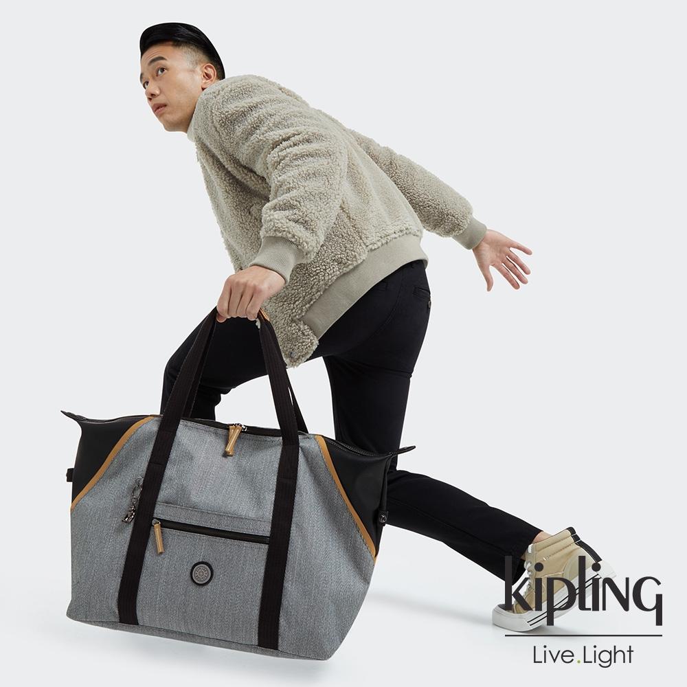 Kipling 質感中性灰黑拼接手提側背包-ART M