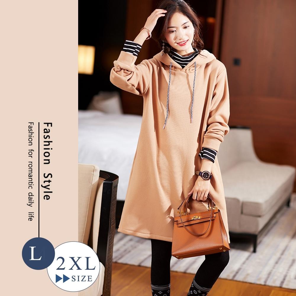 悠美學-韓系中大碼條紋假2件內毛絨洋裝-3色(L-2XL)