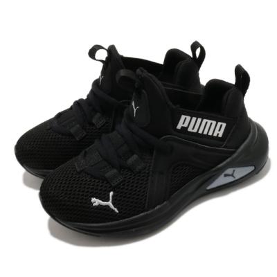 Puma 慢跑鞋 Enzo 2 Weave 運動 童鞋 輕量 透氣 舒適 避震 路跑 健身 中童 黑 銀 19316615