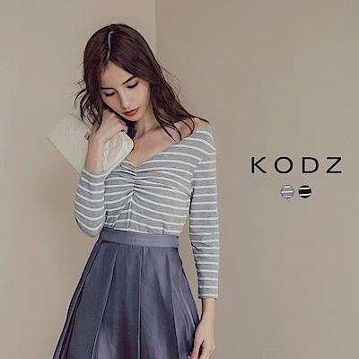東京著衣-KODZ MIT百搭質感條紋設計上衣-S.M.L(共二色)