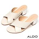ALDO 原色寬版鏤空交叉佐金屬粗跟涼拖鞋~清新白色