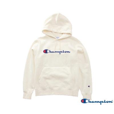 Champion Basic 草寫Logo內刷毛大口袋連帽Tee 米白